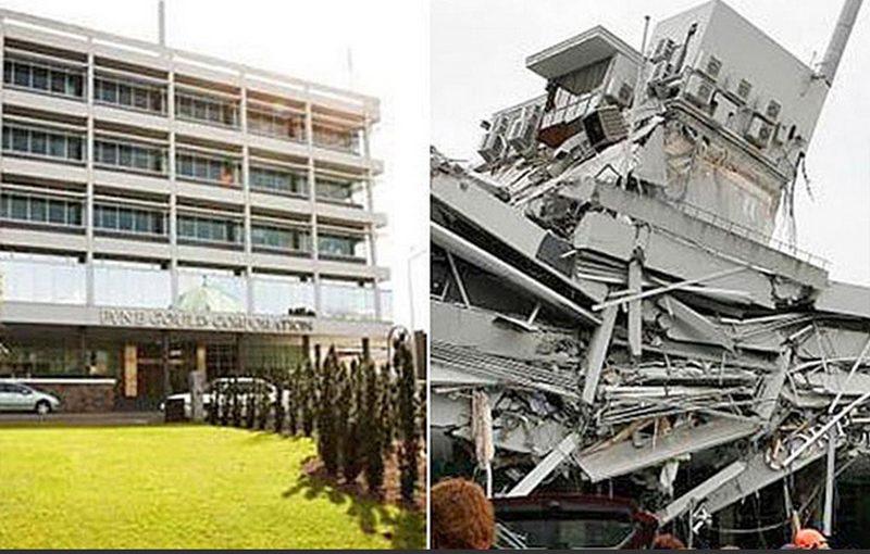 """Землетрясение в Новой Зеландии, фотографии в стиле """"было-стало"""""""