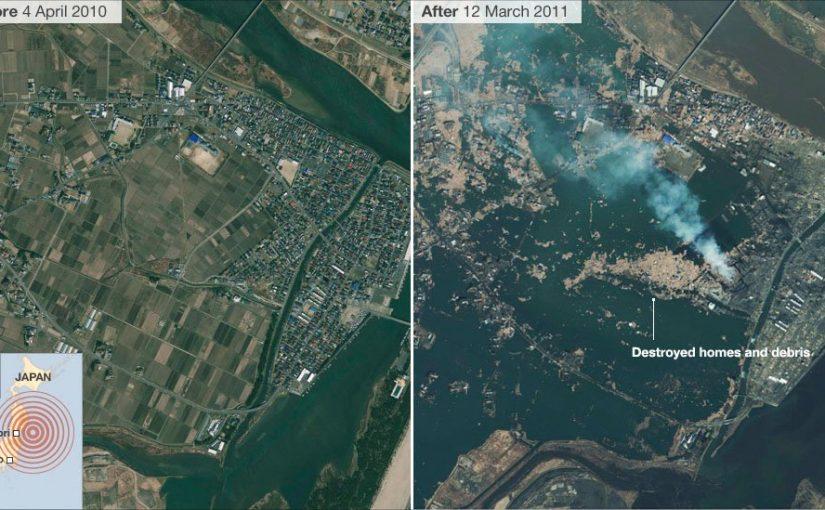 Сильнейшее землетрясение в Японии, фотографии до и после
